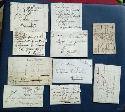 T200.  FRANCE. LOT 10 lettres anciennes 1813 / 1830 environ. STOCKSTAMPS