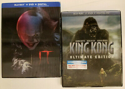 King Kong Ultimate Edition Blu-ray+Lenticular Slip Cover NEW + IT 2017, Like-New