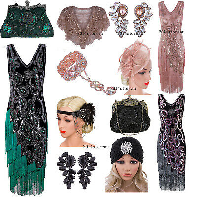 1920s Cocktail Dress Vintage Flapper Costume Gatsby Wedding Party Layered Tassel