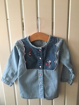 Baby Girl's Clothes 3-6mths - Stunning Embroidered Denim Shirt 4-6 On Label
