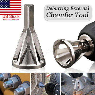 US Stainless Steel Deburring External Chamfer Tool Drill Bit Remove Burr Silver
