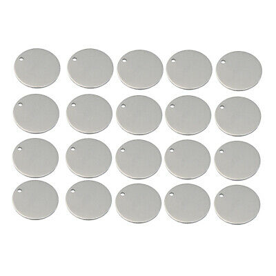Metal Flat Round Circle Blank Coin Charm Tag Pendant Engrave Disc Coins 20x