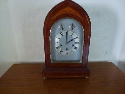 Large Lancet Clock, Mahogany, Three Dial, with Chime