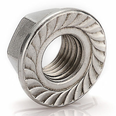 M3 M4 M5 M6 M8 M10 M12 M14 M16 A2 Stainless Steel Metric Flange Serrated Nuts