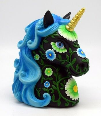 Black And Blue Unicorn With Hair Poly Resin Bank