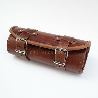 Motorcycle Brown Leather Tool Roll Bag Harley Davidson Sportster Softail Fat Boy