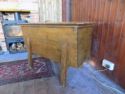 Antique pine French dough bin vintage old blanket box coffer chest trunk table