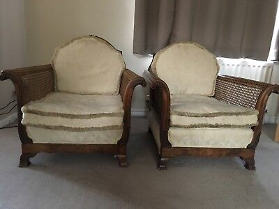 Bergere chair -  Antique Wicker Armchairs (matching pair)  Good condition