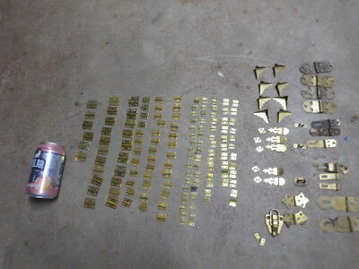 Vintage Solid Brass Hinges Lot Over 172 Hinges Clasps Brass Corners etc.