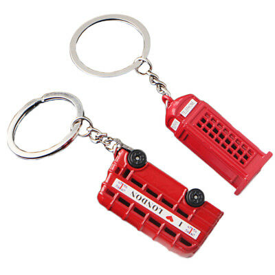 Lovely British Miniature London Model Key Ring Keychain Souvenir Red Bus Taxi