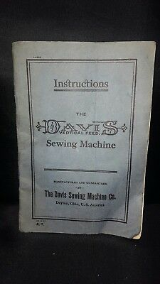 vintage instructions pamphlet booklet for the Davis Vertical Feed Sewing Machine