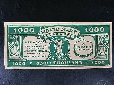 Movie Mart Currency - 4 1000 bills from Cadaco Ltd of San Leandro, CA