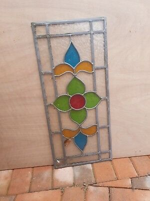 Original Victorian  stained glass panel 12inx27in