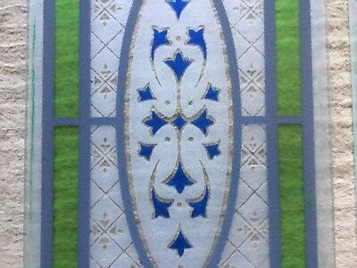 A pair of beautiful Victorian floral design stained glass panels for door.