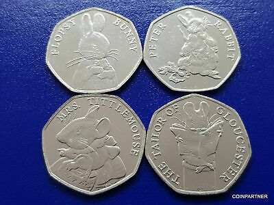 50p Mrs Tittlemouse, Flopsy Bunny, Tailor Rabbit 2018 Coins Very collectible