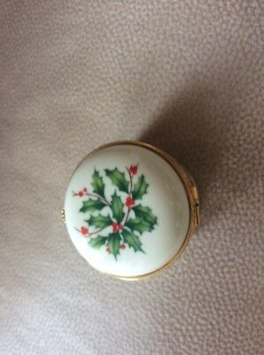 A Lovely ,hinged China Box By Lenox. Christmas Design.