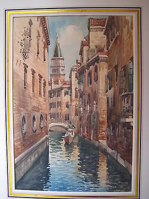 Antique Venice Canal Gondolas Watercolor Painting Signed Vintage Old Italian Art