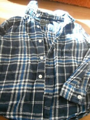 Boy's Blue/White Check Shirt/Top Age 2-3 Years