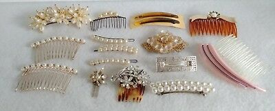 Vintage To Now Lot Of Hair Accessories   Barrettes, Combs   Rhinestone, Pearl