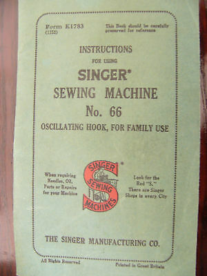 Singer No. 66 Instruction Manual in PDF Format Will Send Worldwide via Email