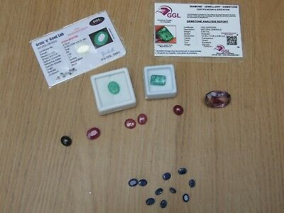 Loose Gemstones mixed lot job lot Emerald Sapphire Ruby Amethyst 86.15 Cts total