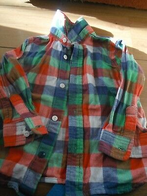 Boy's Red/Green/Blue Check Shirt/Top Age 2-3 Years
