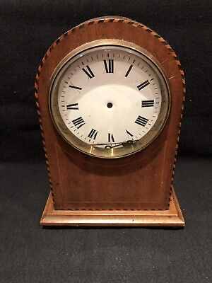 Vintage 1920s Domed Wood Mantle Clock With Inlaid Art Deco Case