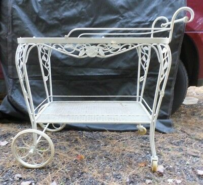 Woodard Vintage Cart Chantilly Rose Wrought Iron WITH Glass