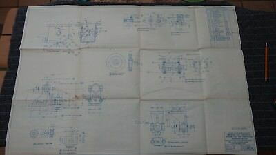 """(H126) Original 1918 Blueprint Drwg 27"""" x 39"""" - Details Wire Lead Operating Gear"""
