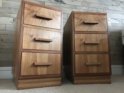Matching pair of Retro Vintage Antique Walnut bedside cabinets drawers