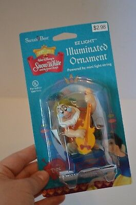 Disney Santa's Best Snow White Seven Dwarfs Lighted Christmas Ornament Doc NEW!
