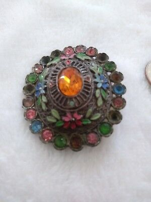 very old antique enamel pin beautiful faux gems rare wonderful collectible