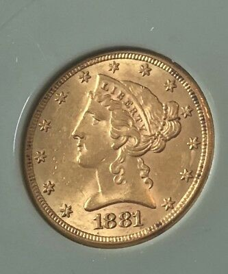 1881 P Half Eagle, $5.00 Gold Coin, Choice UNC, Nice. Free Shipping!