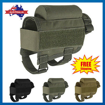 Tactical Buttstock Cheek Rest Riser Pad w/ Ammo Carrier Case Holder Cartridges
