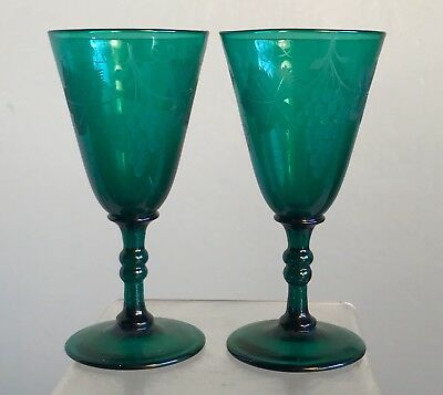 Pair Of Antique Etched  Wine Glasses Cordials Stems Green Polished Pontil