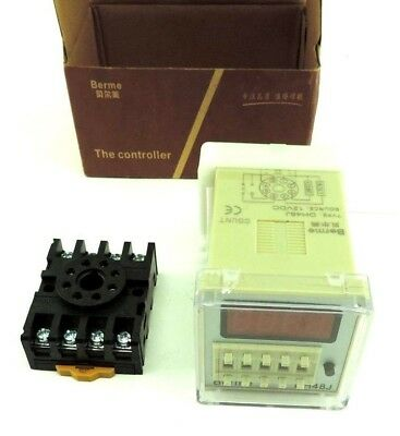 Berme DH48J DIGITAL COUNTER RELAY 12V AC/DC, Includes Mounting Socket (1-999900)