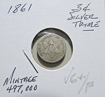 Scarce...1861 3C Silver Trime***Nicer Mid Details***Rare Obsolete Coin