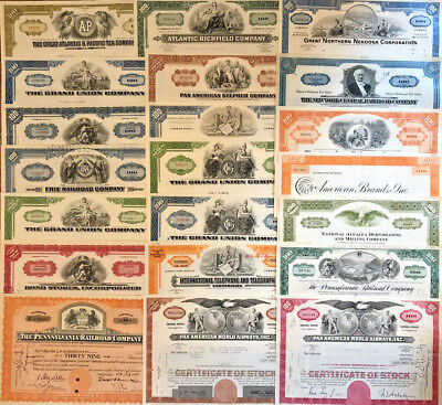 Mixed Lot Set of 21 stock and bond certificates all unique with great vignettes!