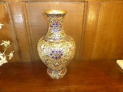 "STUNNING PERFECT VINTAGE 11 7/8"" Cloisonne LARGE gold ground TALL enamel VASE"