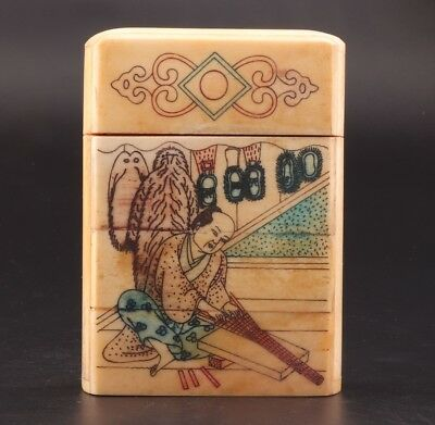Japanese Style Vintage Cattle Bones Jewelry Box Old Hand-Painted Children'S
