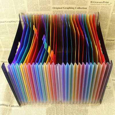 Expanding File Folder Rainbow Color Accordion A4 Document Organizer