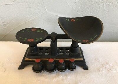 Vintage Cast Iron Miniature Balance Scale W/ Weights Hand Painted Complete