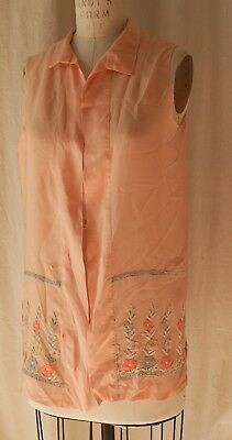 1920s floral embroidered silk top