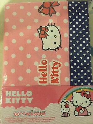"*NEU* Bettwäsche HELLO KITTY ""Dots"" rosa/blau 135 x 200 cm Sanrio"