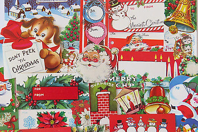Vintage 50's Mid Century Christmas Gift Tag & Seal Collection ~Santas Ornaments