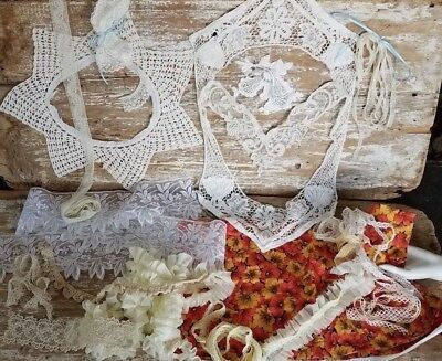 Mod&Antique Lace Trim Beaded Ruffle/Pleat 1/2Yd Cotton Quilting Fabric Large Lot