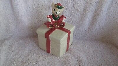 Fitz And Floyd Omnibus Ceramic Mouse Christmas Trinket Box