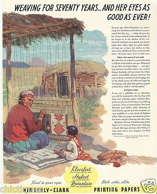 1938 NAVAHO Native Indian Woman Rug Weaver Kimberly-Clark Paper Vintage Print Ad
