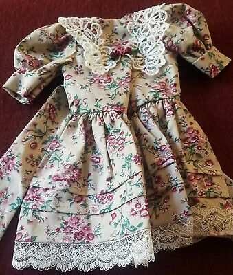 Beautiful Vintage Flower Laced Doll Dress - Lowered price.