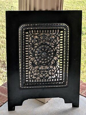 """Antique Victorian Cast Iron Fireplace Summer Vent 28"""" H 20 3/8"""" W ~ Marked 140"""